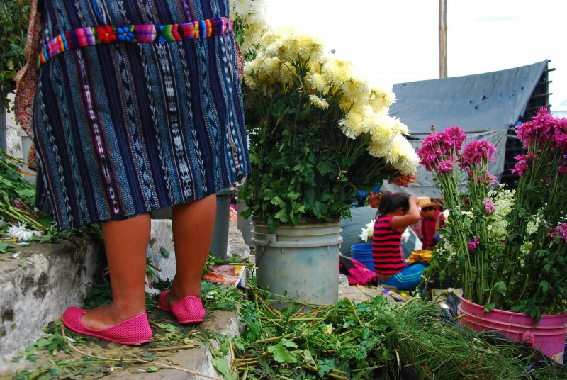 indigenous flower sellers in Guatemala