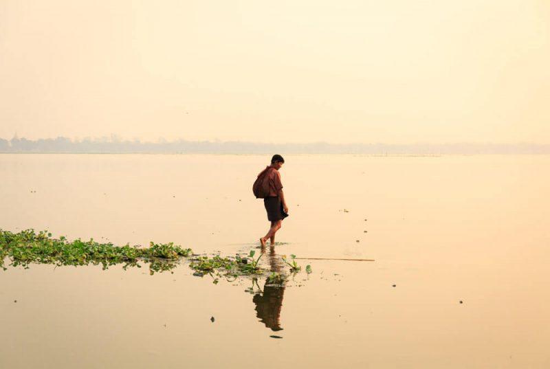 Fisherman at dawn Myanmar Burma