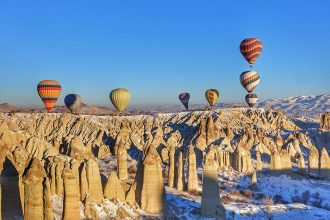 hot air balloon over turkey