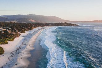 Carmel-by-the-Sea beach drone