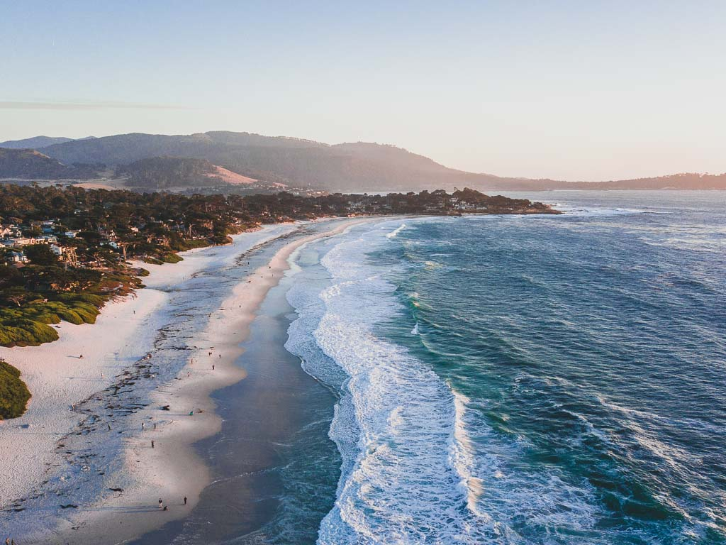 Carmel-by-the-Sea beach drone